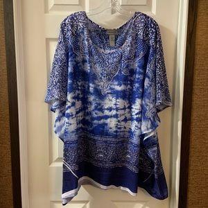 Catherine's Blue/White Print Scoop Neck Blouse 3X